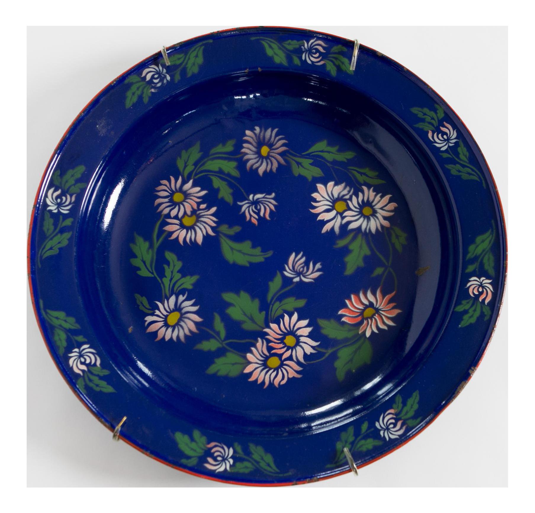 1930s Blue Enamelware Painted Platter