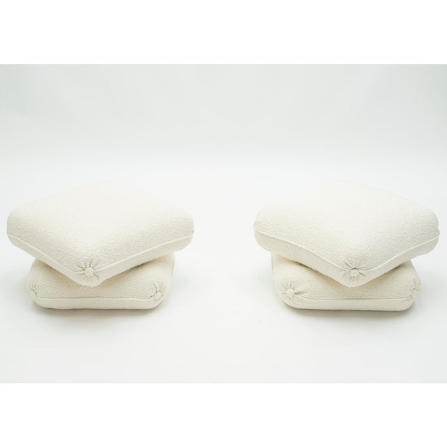 Mid-Century Modern Pair of Ottomans Poufs by Jancques Charpentier for Maison Jansen 1970s For Sale - Image 3 of 10