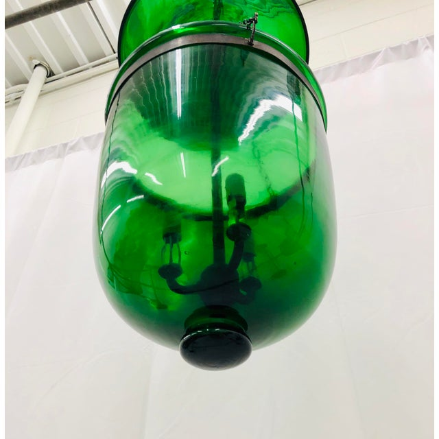 Traditional Green Glass Bell Jar Pendant For Sale - Image 9 of 13