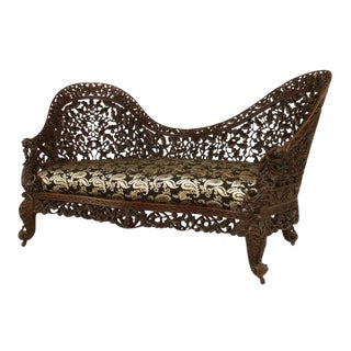 Asian Burmese Style Rosewood Settee with Carved Filigree Back and Front Apron For Sale