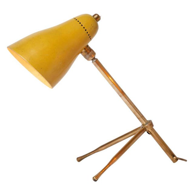 """1950s Giuseppe Ostuni """"Ochetta"""" Yellow Wall or Table Lamp for O-Luce For Sale - Image 13 of 13"""