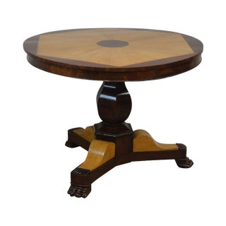 French Charles X Antique Mahogany & Elm Wood 2 Tone Round Center Table For Sale