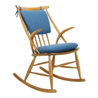 Illum Wikkelso for Niels Eilersen Danish Modern Rocking Chair For Sale