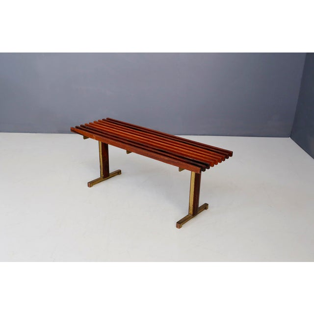 Gold Bench by Carlo Graffi From 1950 in Brass and Walnut Wood For Sale - Image 8 of 8