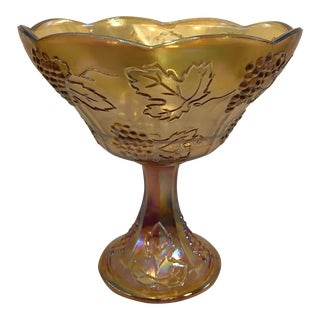 Vintage Carnival Glass Amber Wedding Bowl For Sale