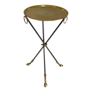 Pair of French Mid-Century Modern Steel and Brass Side Tables by Maison Baguès