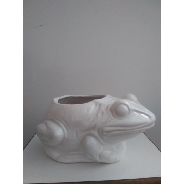 1970s 1970's Vintage White Frog Planter For Sale - Image 5 of 5
