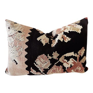"Antique Bessarabian Kilim Lumbar Pillow 24"" W For Sale"