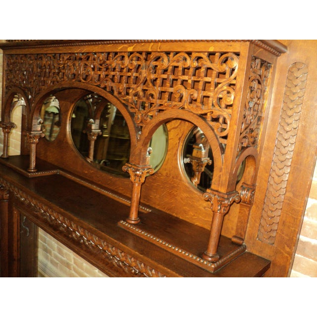 Late 19th Century Highly Carved Oak Fireplace Mantel For Sale - Image 4 of 12