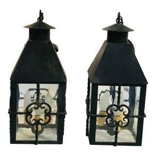 1950s Pair of Iron Hanging Lanterns For Sale