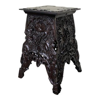 Antique English Anglo Indian Carved Wood Table For Sale