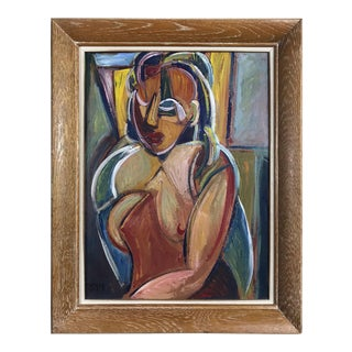 Vintage French Cubist Portrait For Sale
