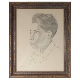 Gerald Wasserman Portrait of a Mexican Boy, Graphite Drawing, Circa 1947 1947 For Sale