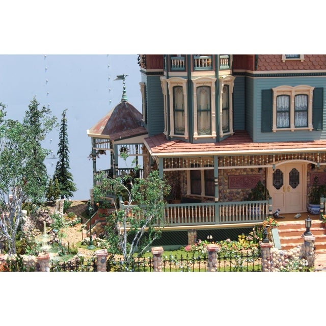 Green Massive 7 Foot With Case Doll House From the Heritage Museum l.a on S. Calif. Architecture For Sale - Image 8 of 11