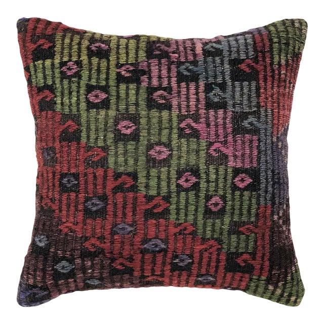 "Jewel Tone Kilim Pillow   16"" For Sale"