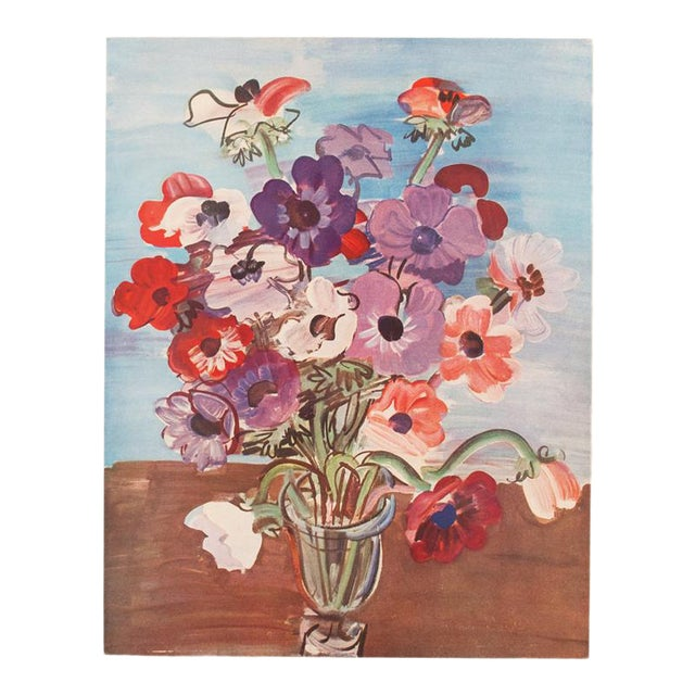 "1940s Vintage Original Swiss Period ""Bouquet"" Lithograph by Raoul Dufy For Sale"