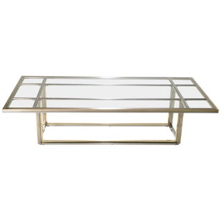 Hollywood Regency Large Brass Chrome Coffee Table Romeo Rega, 1970s For Sale