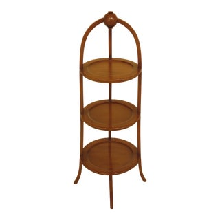 1960s Traditional Biggs Inlaid Mahogany 3 Tier Muffin Stand For Sale