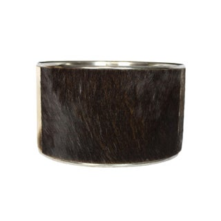Animal Print Spotted Buffalo Hide and Chrome Modern Drum Shade Preview
