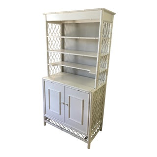 White Painted Bamboo Sideboard with Shelving For Sale