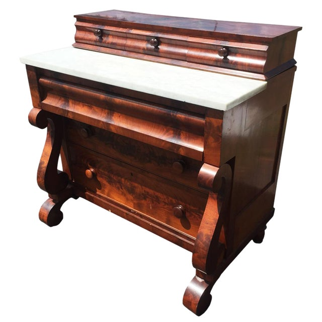 Antique american empire flame mahogany gentleman 39 s chest for American empire bedroom furniture