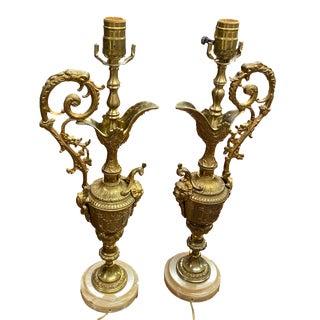 Mid 20th Century Renaissance Brass Ewer Lamps - a Pair For Sale