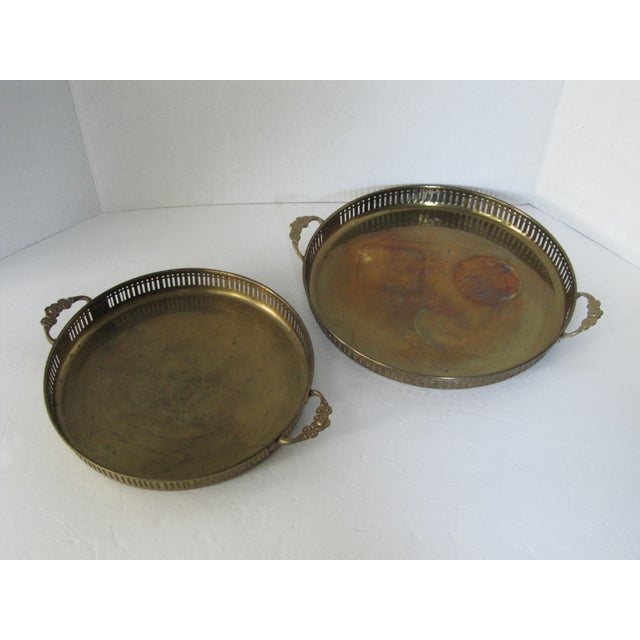 Vintage Round Brass Trays - A Pair - Image 2 of 7