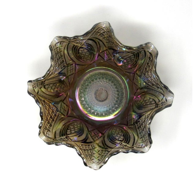 1910s Antique Imperial Smoke Diamond Ring Carnival Glass Bowl For Sale - Image 5 of 8