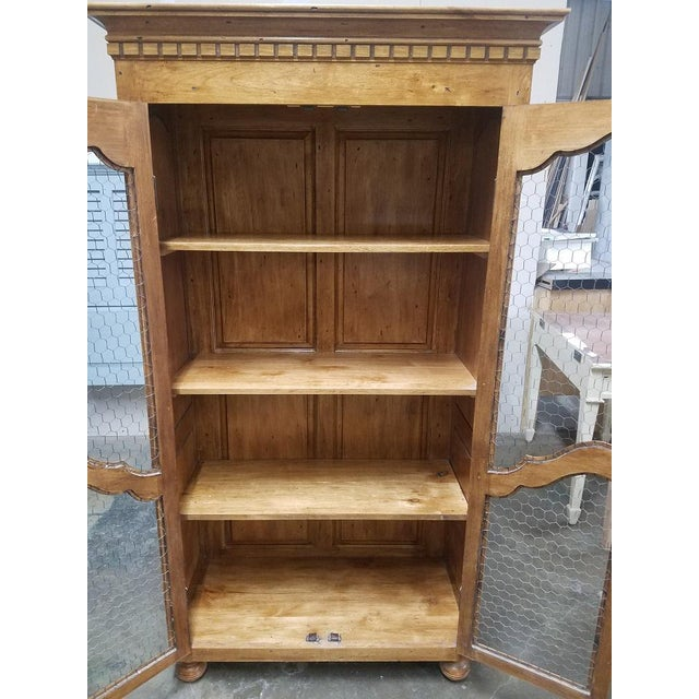French Country Chicken Wire Cupboard Hutch China Cabinet For Sale - Image 4 of 7