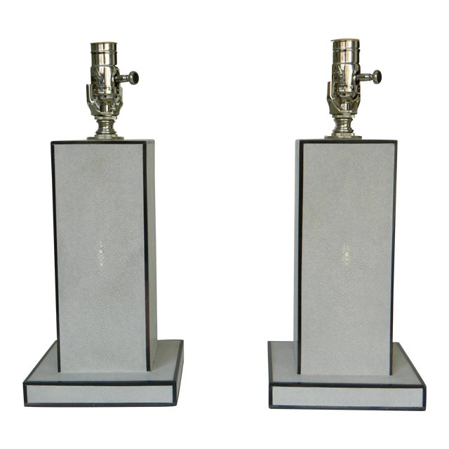 Green Grey Shagreen Table Lamps - a Pair For Sale - Image 8 of 8
