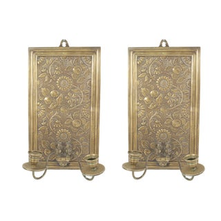 English Arts & Crafts Brass Embossed Sconces - a Pair For Sale