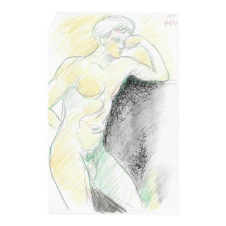 Posing Male Nude in Color Pencil by James Bone For Sale