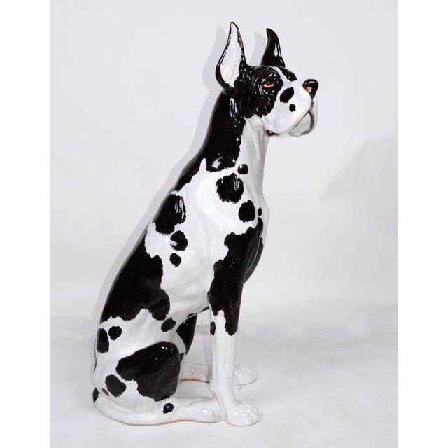 1970s Italian Ceramic Life Size Great Dane Sculpture For Sale - Image 5 of 12
