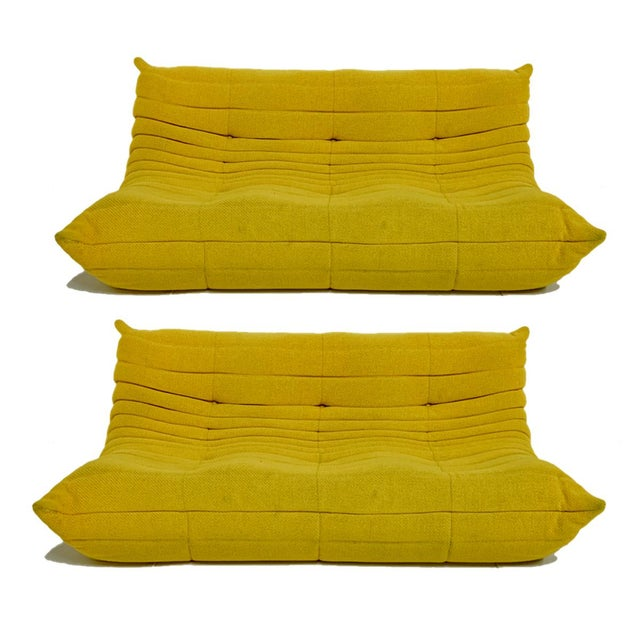 Michel Ducaroy for Ligne Roset Rare Yellow Toga Sofa / Large Settee 2 Available For Sale - Image 12 of 12