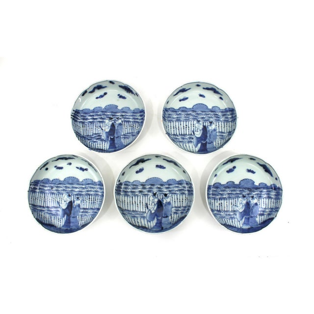 1900s Japanese Blue & White Bowls Meiji Period For Sale