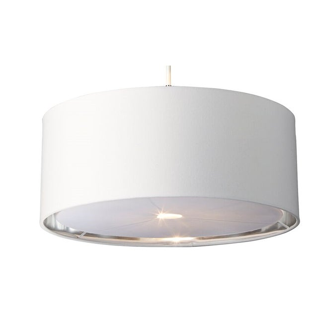 White/Polished Nickel Balance fittings feature fabric shades with a silver metallic lining and acrylic diffuser for...