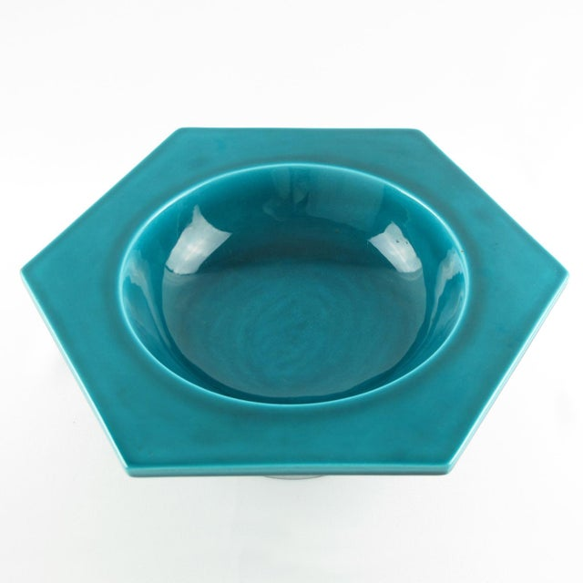 1930s Paul Milet for Sevres Art Deco Turquoise Ceramic Bowl For Sale - Image 5 of 9