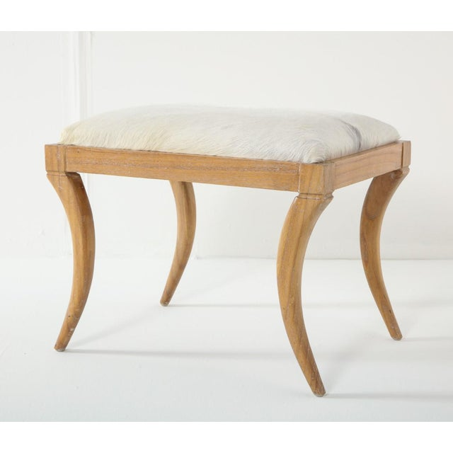 1950s Cerused Oak and White Pony Hide Ottoman, in the Style of Jean-Michel Frank For Sale - Image 5 of 10