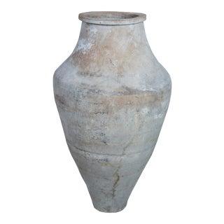 "Antique Clay Amphora Vessel Floor Vase - 34"" For Sale"