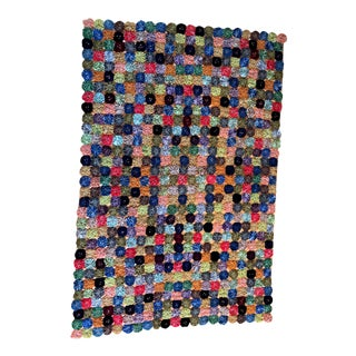 Vintage Yoyo Puff Velvet Hand Stitched Patchwork Throw For Sale
