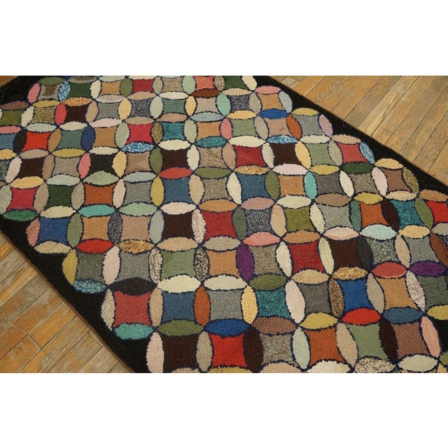 """Textile Antique American Hooked Rug 3'7"""" X 8'9"""" For Sale - Image 7 of 12"""
