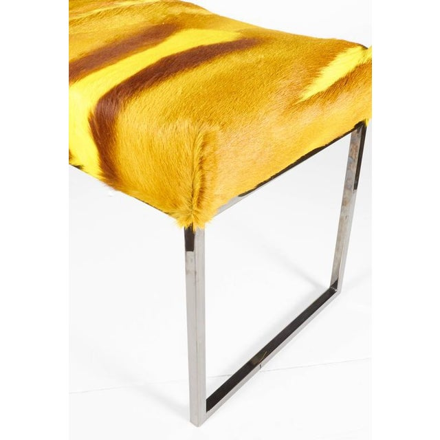 2010s Organic Modern African Springbok Fur Bench in Vibrant Yellow For Sale - Image 5 of 9