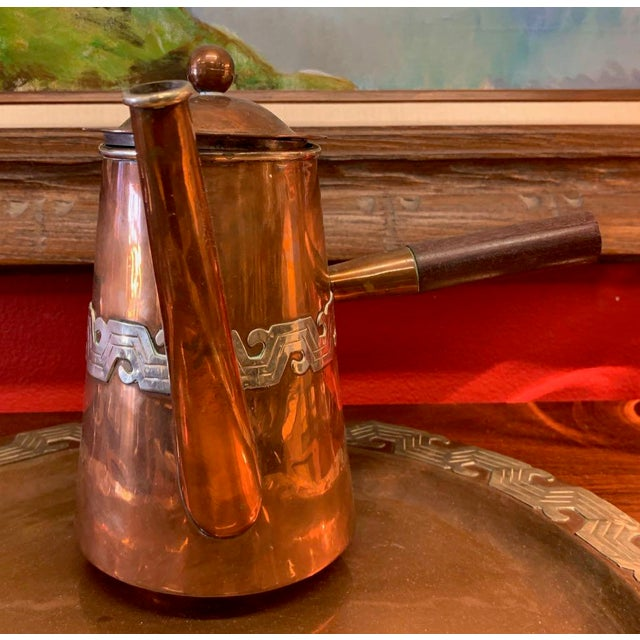 Artisanias Mexico Copper & Silver Coffee Set of 4 For Sale - Image 12 of 13