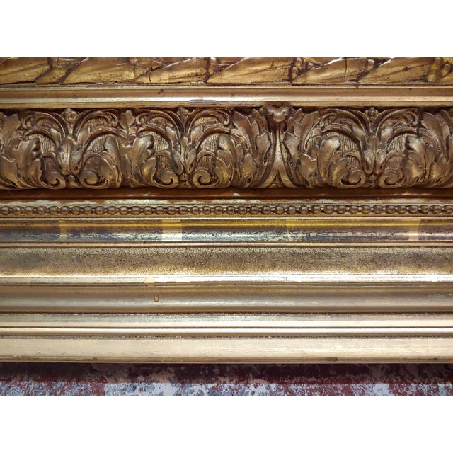 19th Century Large Ornate Carved Gilt Wood Frame - C1860s For Sale - Image 4 of 8