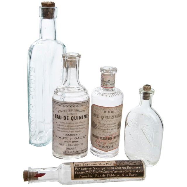 French Set of Five Vintage French Pharmacy Bottles For Sale - Image 3 of 3