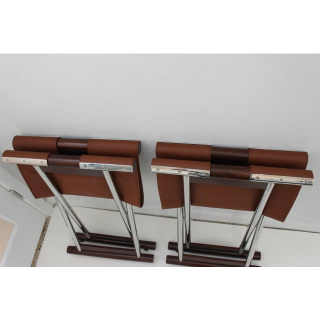Vintage Folding X-Sling Stools in Leather, Stainless Steel and Mahogany a Pair For Sale - Image 12 of 13