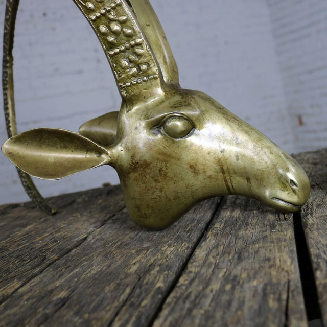 Gold Sculptural Brass Rams' or Ibex Head Coffee Table Base Manner of Alain Chervet For Sale - Image 8 of 11
