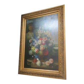 Antique Large Floral Oil Painting For Sale
