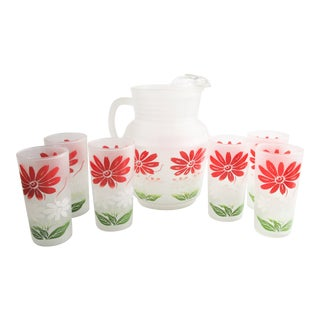Vintage Frosted Pitcher & Tumblers With Flowers - 7 Pieces For Sale