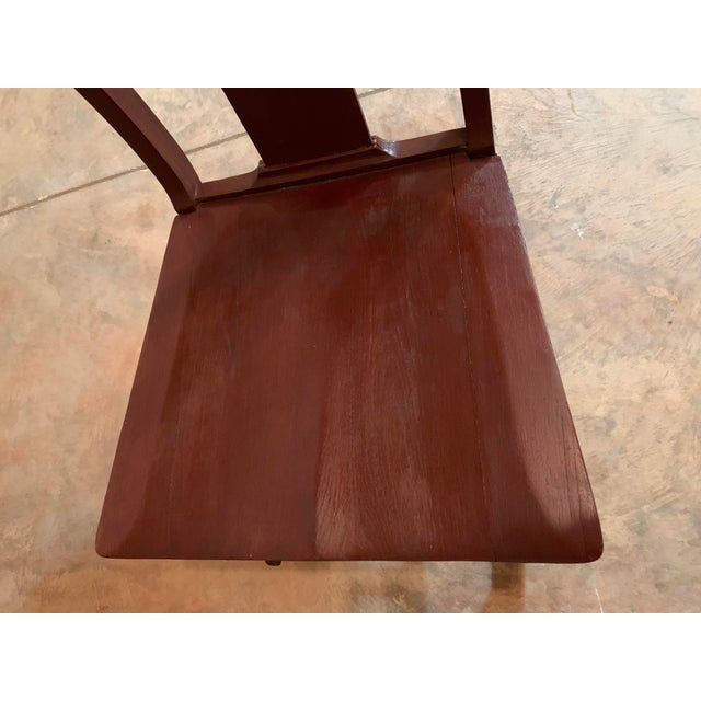 Antique Carved Scrolled Splat Back Solid Wood Brown Painted Children's Rocking Chair For Sale - Image 9 of 13